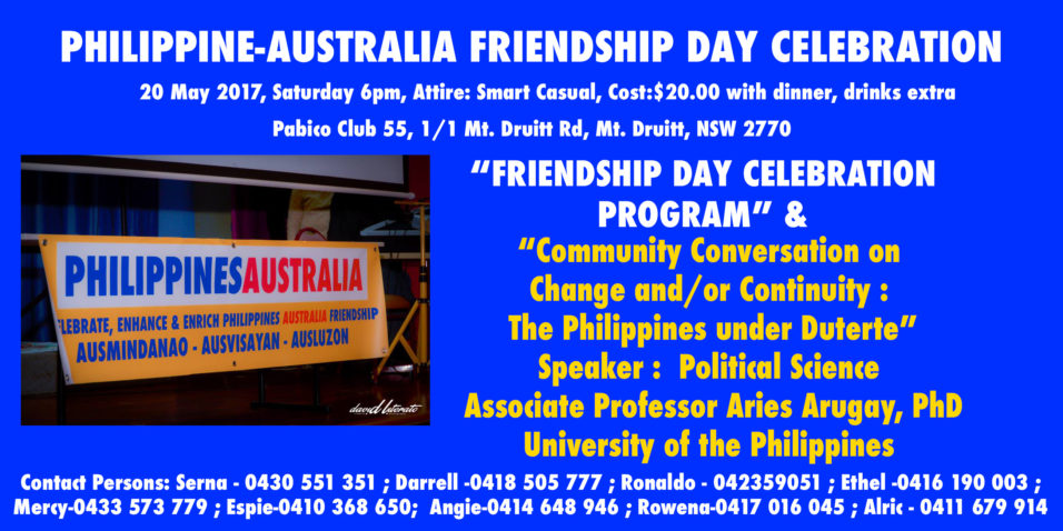 Philippines Australia Friendship Day 2017 on May 20.