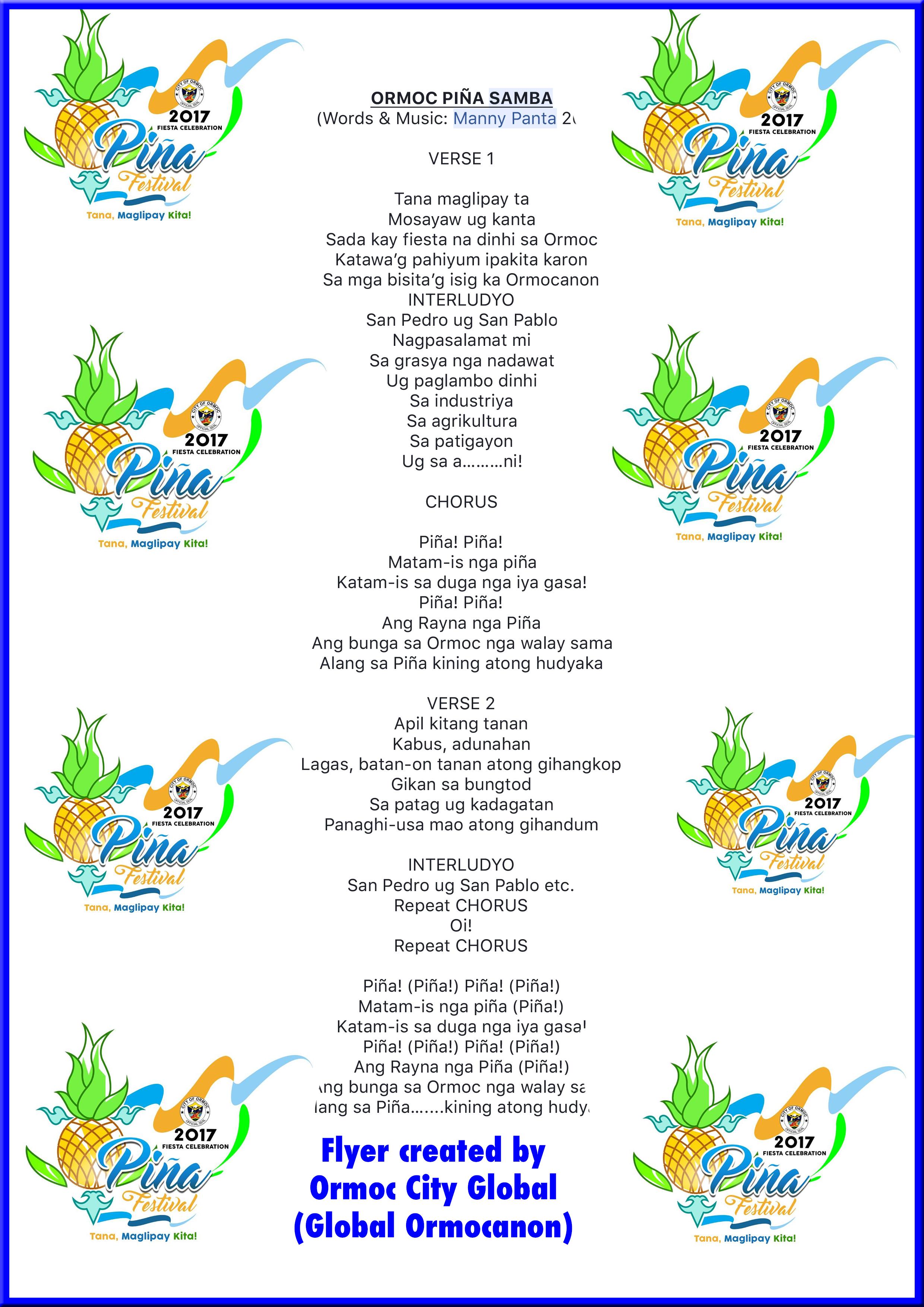 Ormoc Piña Samba Lyrics