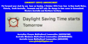 Daylight saving time starts tomorrow in Australia