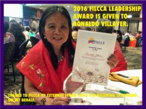 Ronaldo Villaver receives 2016 Leadership award from FiLCCA