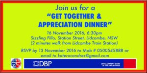 "The Philippine Community Council of New South Wales Inc (PCC NSW Inc) is organising the ""Get Together and Appreciation Dinner"" on 16 November 2016 at Lidcombe, NSW, Australia"