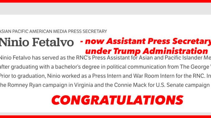 Ninio Fetalvo- Assistant Press Secretary